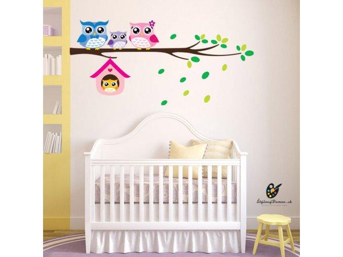 detska samolepka na stenu samolepiaca tapeta dekoracna nalepka pre deti farebne sovicky na konaroch 3 nahlad stylovydomov