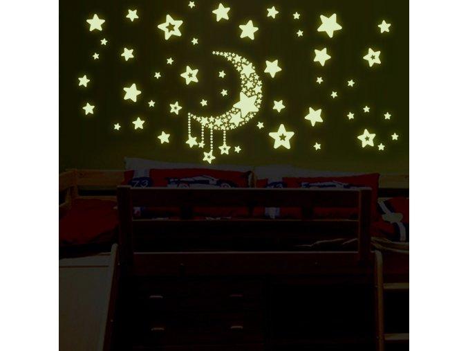 detska samolepka na stenu samolepiaca tapeta dekoracna nalepka fosforove hviezdicky s mesiacom nahlad stylovydomov