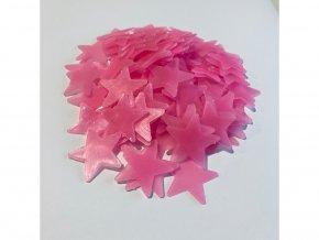 """Fosforové plastové """"hvězdičky - růžové"""" 3cm 100ks"""