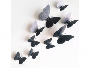"""Samolepka na zeď """"Plastové černé 3D motýly"""" 12 ks 6-12 cm"""