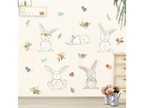 detska samolepka na stenu samolepiaca tapeta dekoracna nalepka pre deti zajaci zajac vizualizacia stylovydomov
