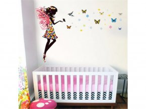detska samolepka na stenu samolepiaca tapeta dekoracna nalepka pre deti vila s motylmi a kolibrikom vizualizacia stylovydomov