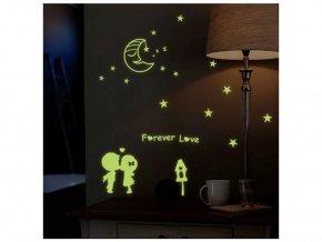 detska samolepka na stenu samolepiaca tapeta dekoracna nalepka fosforove deti s mesiacikom nahlad stylovydomov