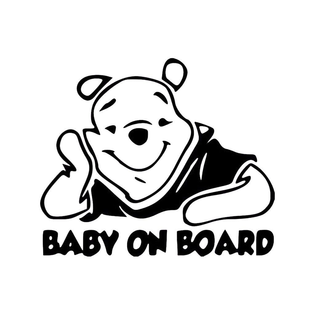 samolepka na auto detska nalepka macko pu baby on board dieta v aute cierna nahlad stylovydomov