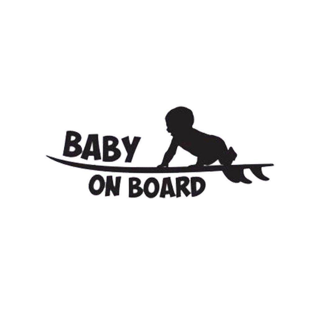 samolepka na auto detska nalepka surfer baby on board dieta v aute cierna nahlad stylovydomov