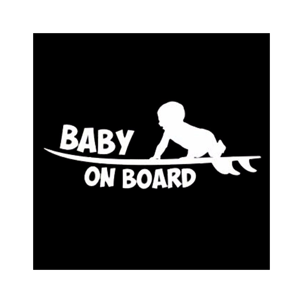 samolepka na auto detska nalepka surfer baby on board dieta v aute biela nahlad stylovydomov