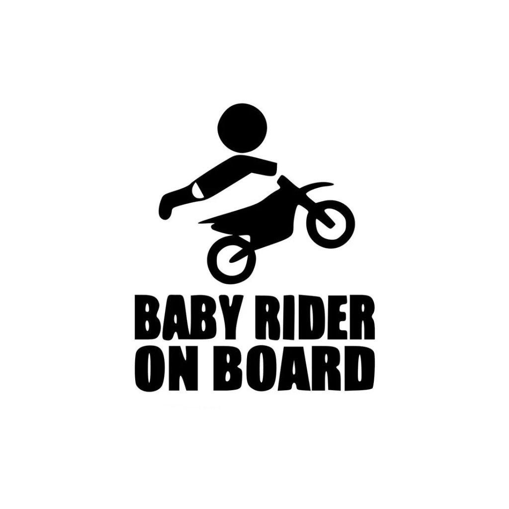 samolepka na auto detska nalepka rider baby on board dieta v aute cierna nahlad stylovydomov