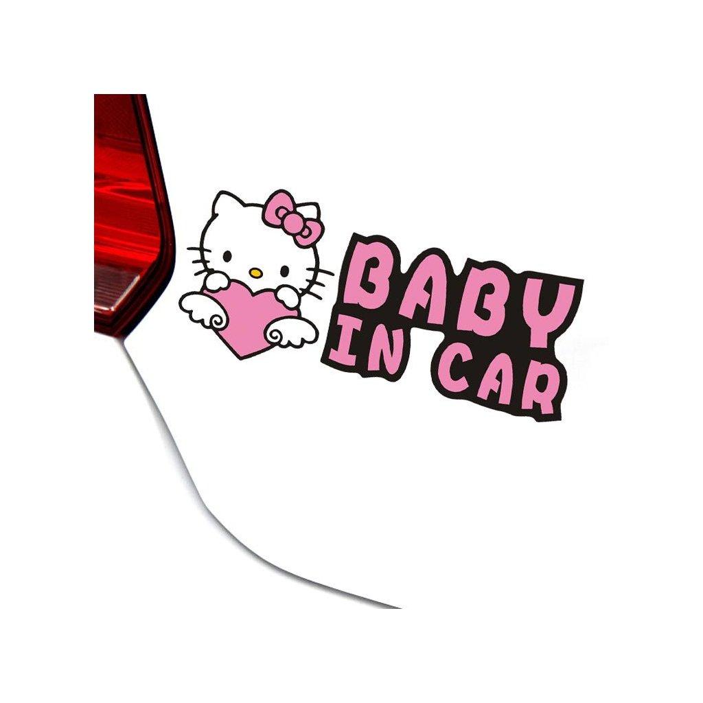 samolepka na auto detska nalepka hello kitty baby in car baby on board dieta v aute cierna nahlad stylovydomov