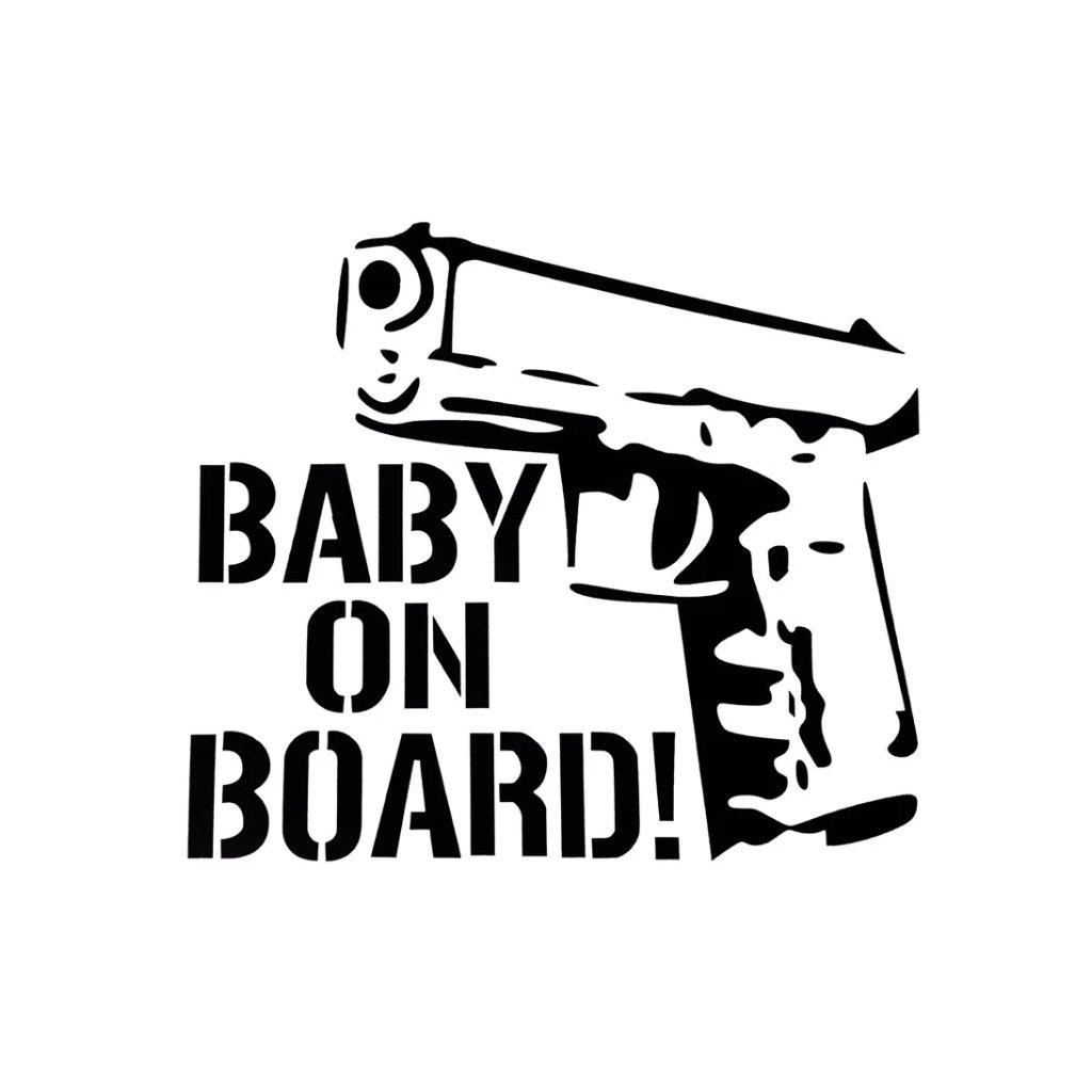 samolepka na auto detska nalepka pistol pre drsnych ockov baby on board dieta v aute cierna nahlad stylovydomov