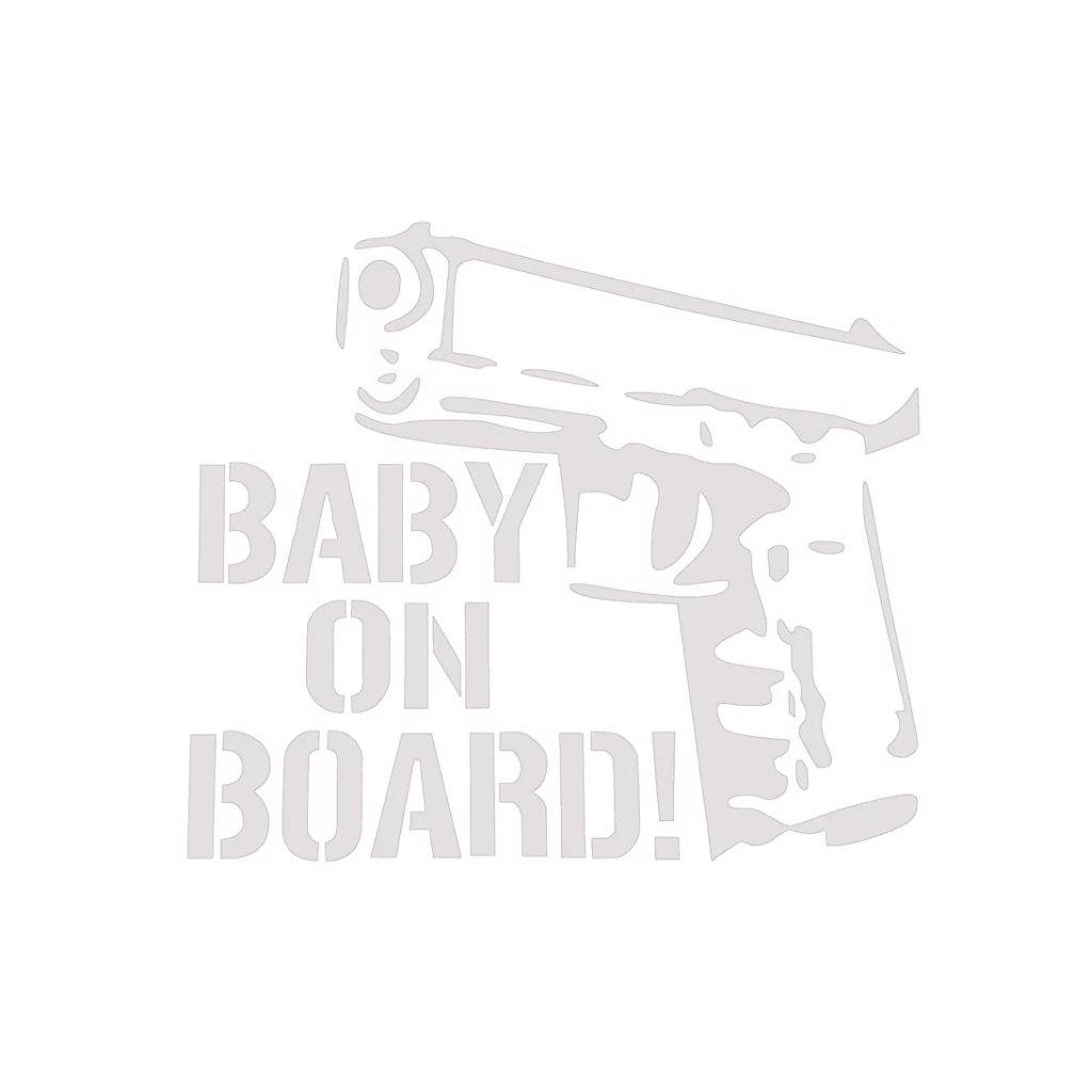 samolepka na auto detska nalepka pistol zbran pre drsnych ockov baby on board dieta v aute biela nahlad stylovydomov