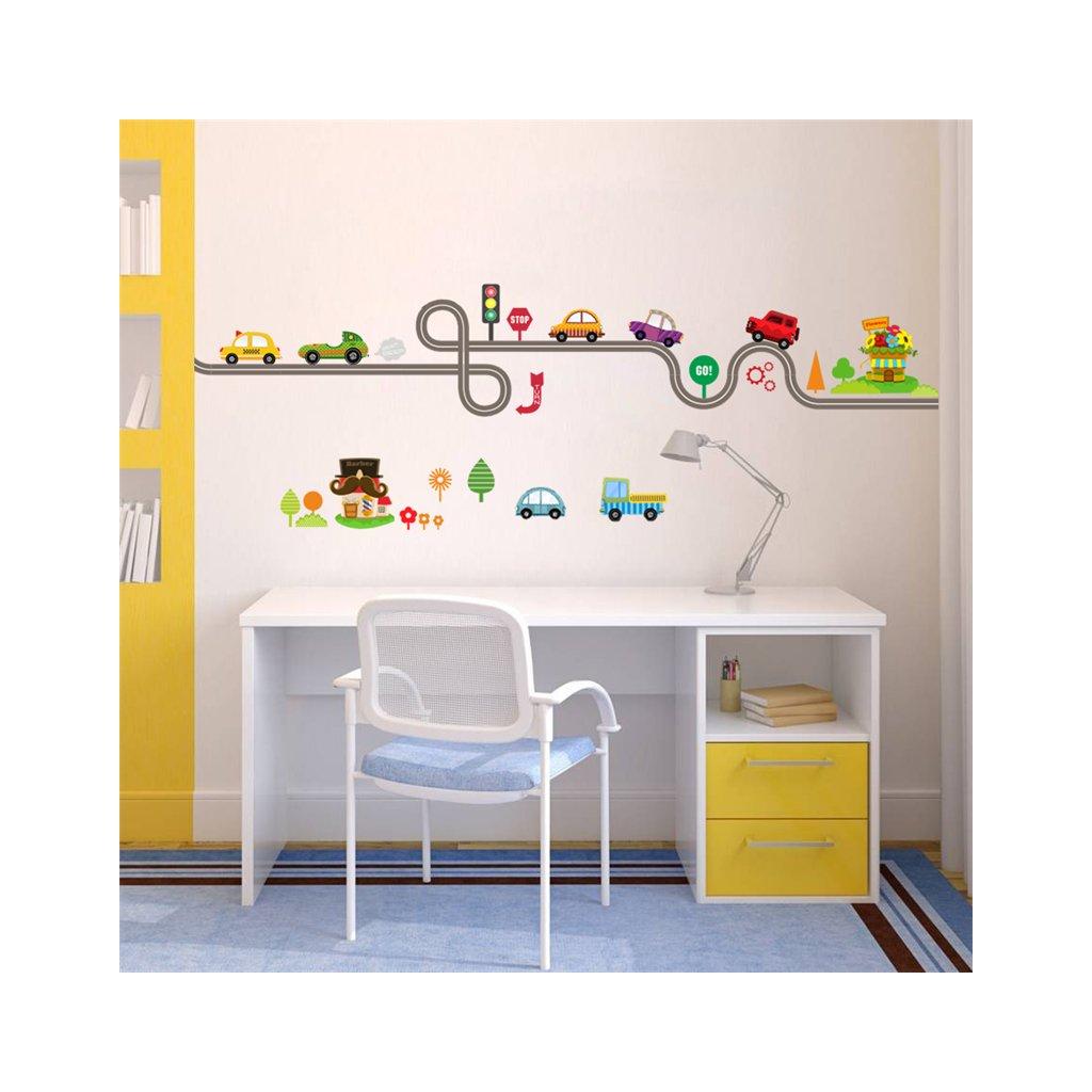 detska samolepka na stenu samolepiaca tapeta dekoracna nalepka pre deti cesta auticka auta nahlad stylovydomov