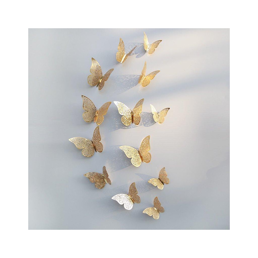 metalicke 3d motyle na stenu samolepiace zlate dekoracia nahlad stylovydomov