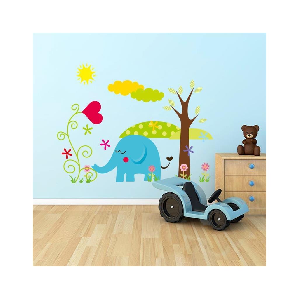 detska samolepka na stenu samolepiaca tapeta dekoracna nalepka slon so stromom nahlad stylovydomov