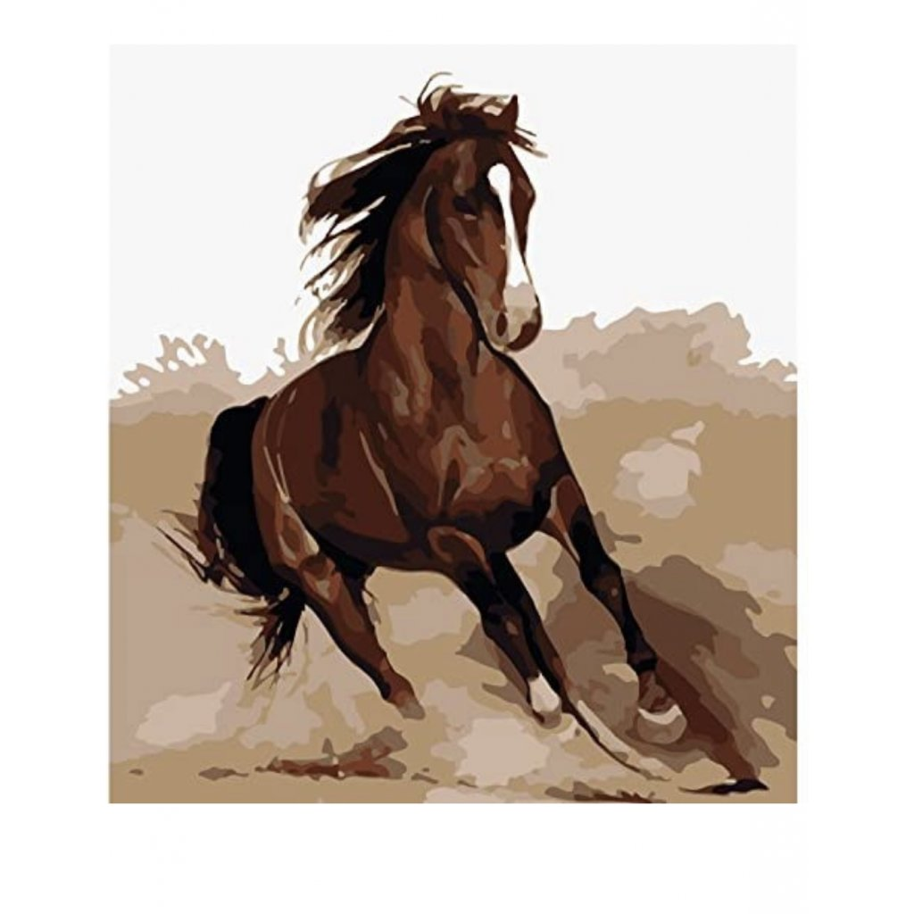 Amazon.com JynXos Without Frame Paint By Number Horses Linen Canvas DIY Painting Single Running Brown Horse