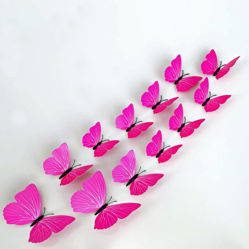M 014 Plastové 3D Motýle ružové kópia