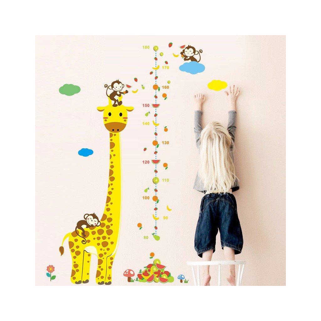 samolepka na stenu pre deti detska nalepka zirafa opicky detsky meter stylovydomov dekoracie