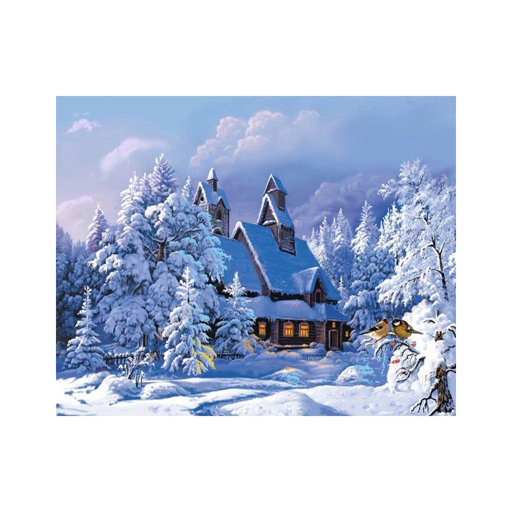 """Festés számok szerint kép kerettel """"Havas ház"""" 40x50 cm"""