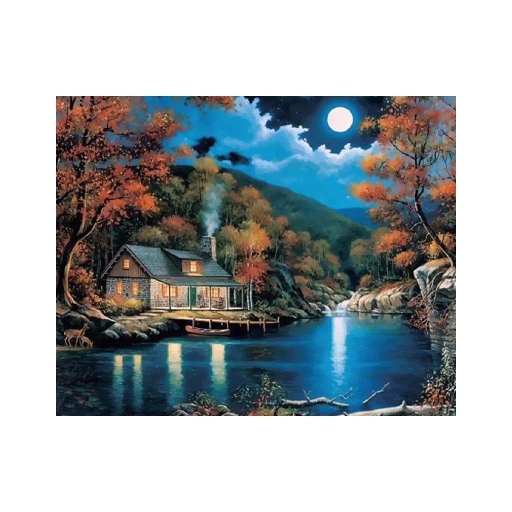 """Festés számok szerint kép kerettel """"Ház a tónál"""" 40x50 cm"""