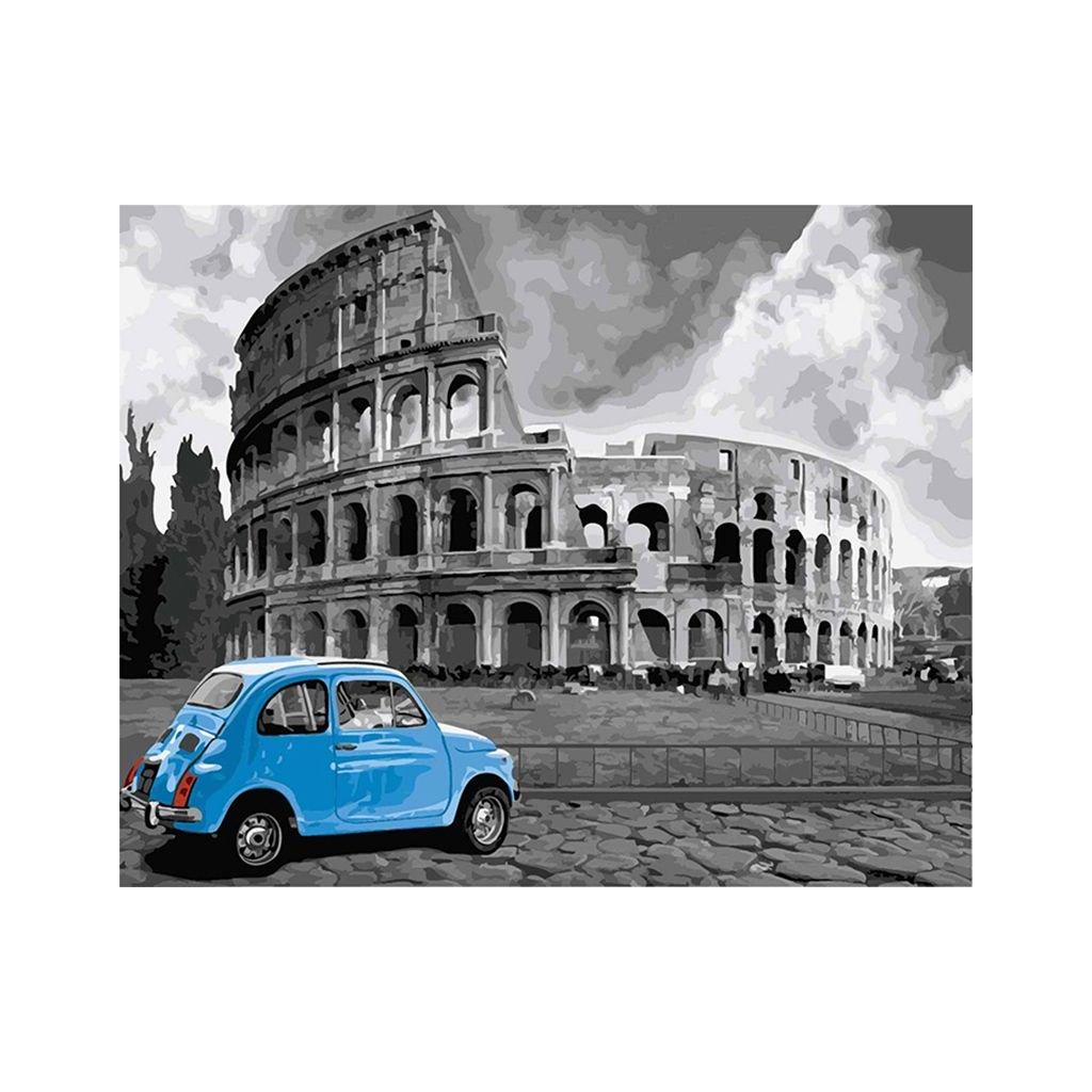 """Festés számok szerint kép kerettel """"Fiat 500"""" 40x50 cm"""