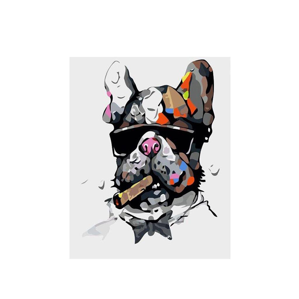 """Festés számok szerint kép kerettel """"Francia bulldog"""" 40x50 cm"""