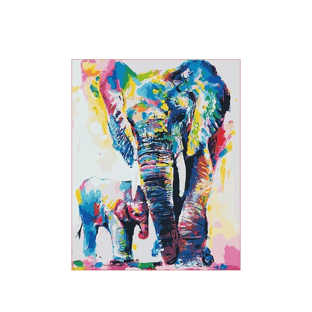 """Festés számok szerint kép kerettel """"Színes elefántok"""" 40x50 cm"""