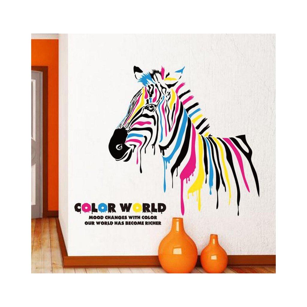 samolepka na stenu farebna zebra dekoracna nalepka interierovy doplnok dizajn nahlad stylovydomov