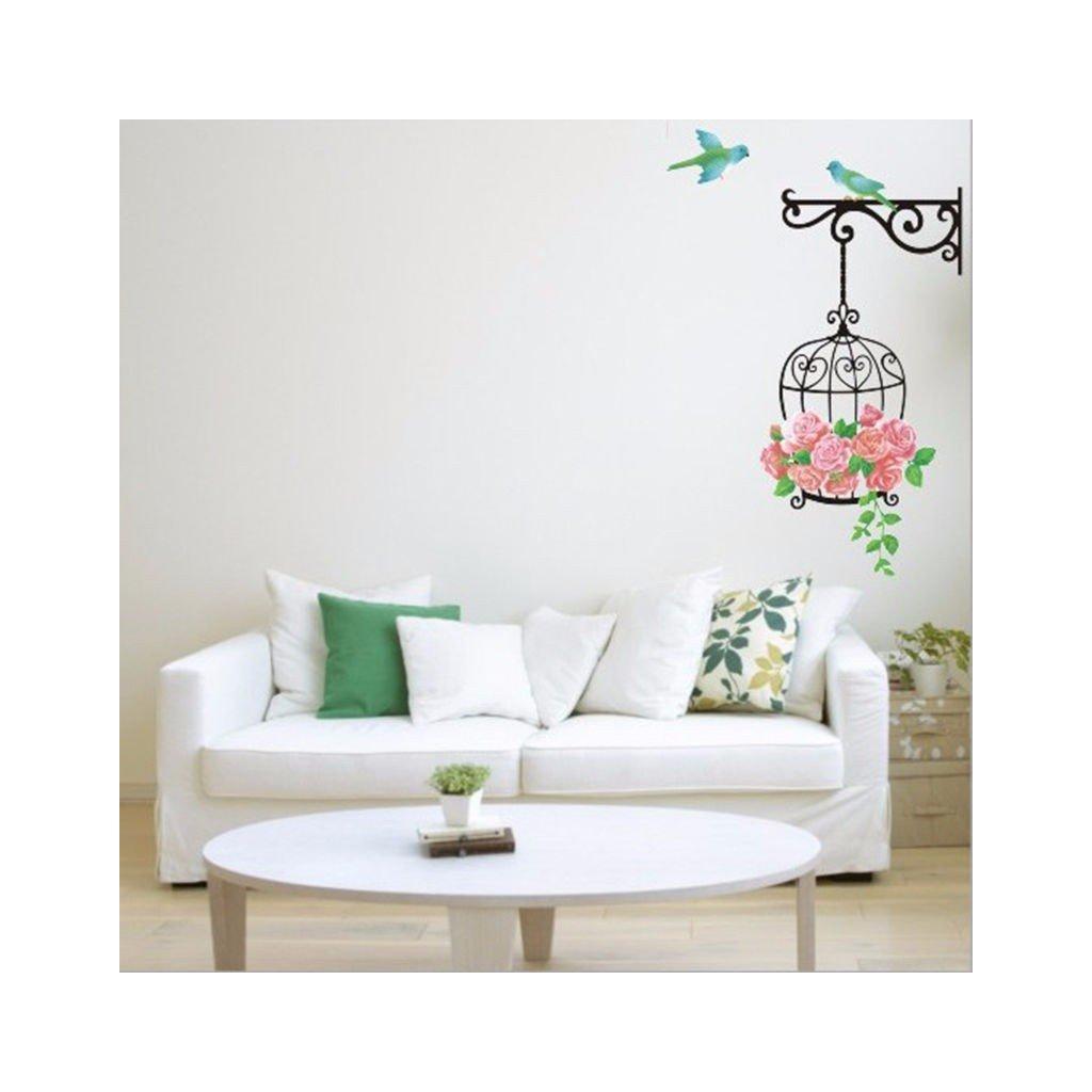 samolepka na stenu samolepiaca tapet dekoracna nalepka interierovy doplnok klietka s vtakmi nahlad stylovydomov