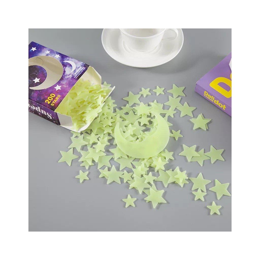 """Foszforeszkáló műanyag """"Csillagok - sárga"""" 3cm 100db"""