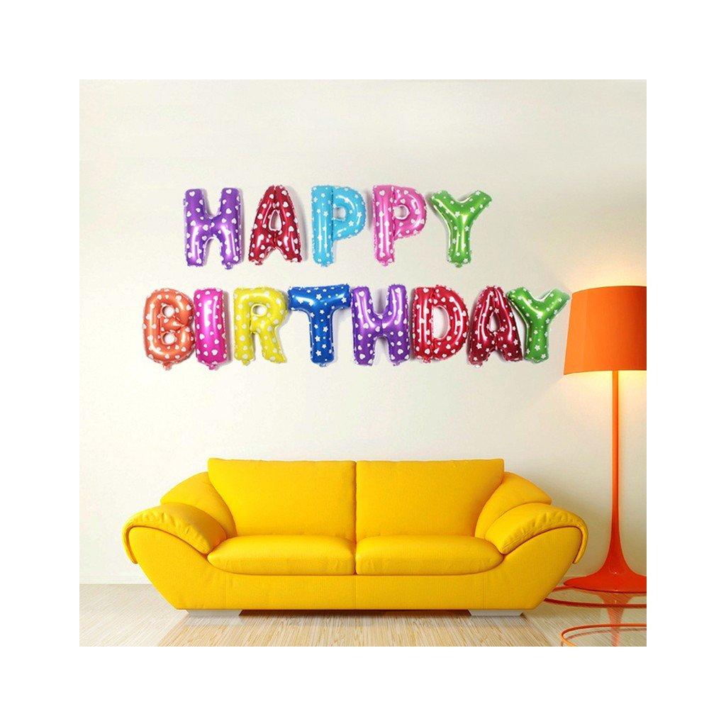 """Színes felirat lufi """"Happy Birthday"""" 37,5 cm"""