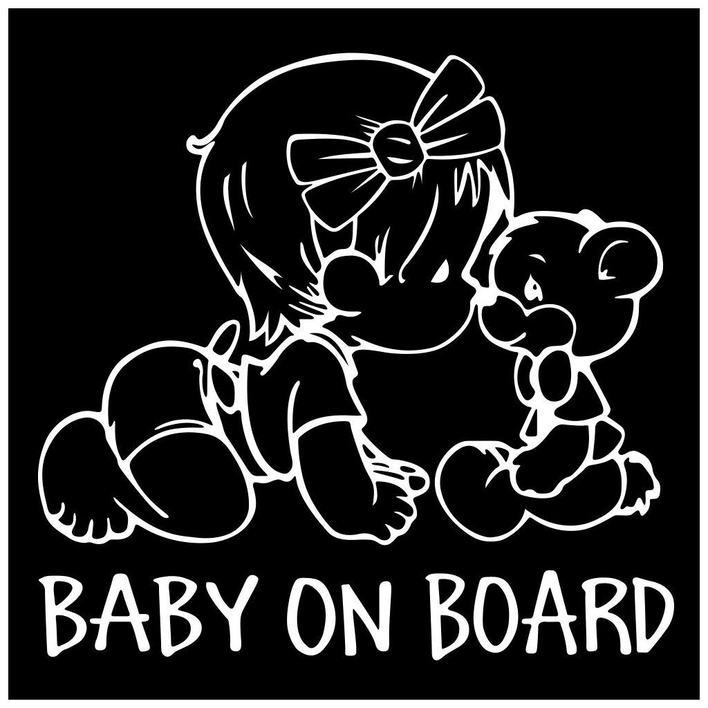samolepka na auto detska nalepka dieta v aute baby on board dievcatko nahlad biela stylovydomov