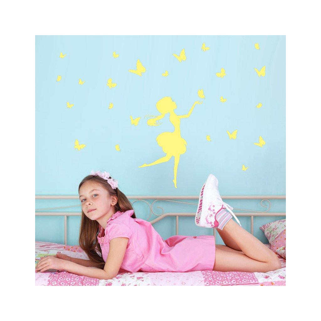 samolepiace tapety samolepka na stenu pre deti fosforova detska nalepka dievca s motylmi nahlad stylovydomov