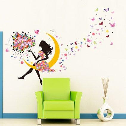 detska samolepka na stenu samolepiaca tapeta dekoracna nalepka pre deti sediace dievca na mesiaci nahlad stylovydomov