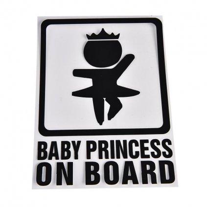 samolepka na auto detska nalepka dievca dievcatko princezna baby princesson board dieta v aute cierna nahlad stylovydomov