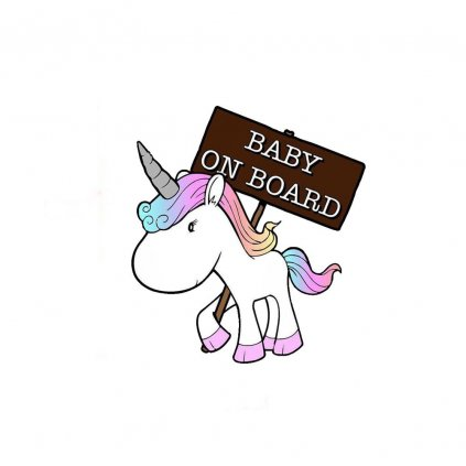 samolepka na auto detska nalepka unicorn jednorozec baby on board dieta na palube dieta v aute farebna nahlad stylovydomov