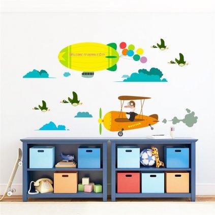 detska samolepka na stenu samolepiaca tapeta dekoracna nalepka pre deti lietadlo kacice nahlad stylovydomov