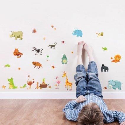 detska samolepka na stenu samolepiaca tapeta dekoracna nalepka pre deti africke zvieratka nahlad stylovydomov