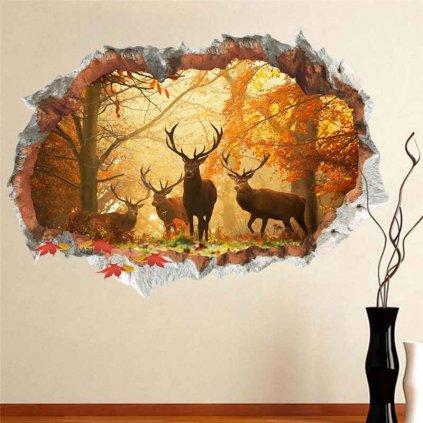 3d samolepka na stenu samolepiaca tapeta dekoracna nalepka pre polovnikov jelene nahlad stylovydomov