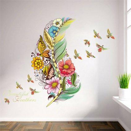 samolepiaca tapeta dekoracna samolepka na stenu nalepka farebne pierko vtaky styl interierovy dizajn dekoracia nahlad stylovydomov