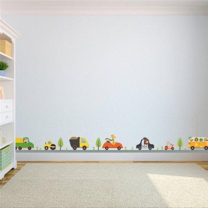 detska samolepka na stenu samolepiaca tapeta dekoracna nalepka pre deti cesta s autickami nahlad stylovydomov