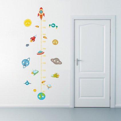 detska samolepka na stenu samolepiaca tapeta dekoracna nalepka pre deti detsky meter raketa 2 vizualizacia stylovydomov