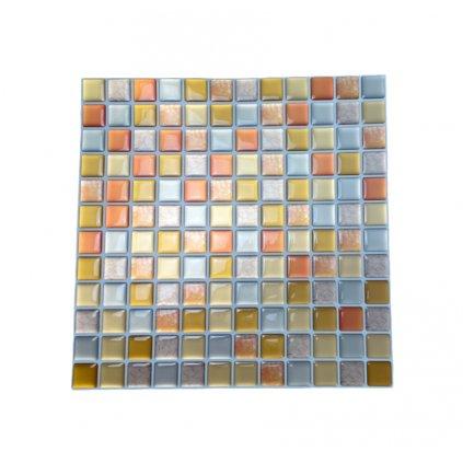 Felragasztható csempe - 3D mozaik - Narancssárga négyzetek 23,5 x 23,5 cm