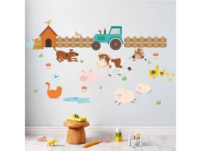 detska samolepka na stenu samolepiaca tapeta dekoracna nalepka pre deti farma zvieratka zvierata nahlad stylovydomov