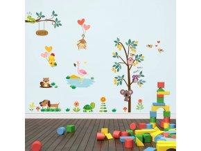 detska samolepka na stenu samolepiaca tapeta dekoracna nalepka pre deti zvieratka strom sovicky opicky pes nahlad stylovydomov