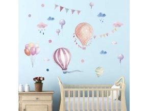 detska samolepka na stenu samolepiaca tapeta dekoracna nalepka lietajuce balony 2 vizualizacia stylovydomov