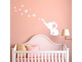 dekoracna samolepka na stenu vinylova nalepka interierova dekoracia biela slonik s motylmi nahlad.jpg