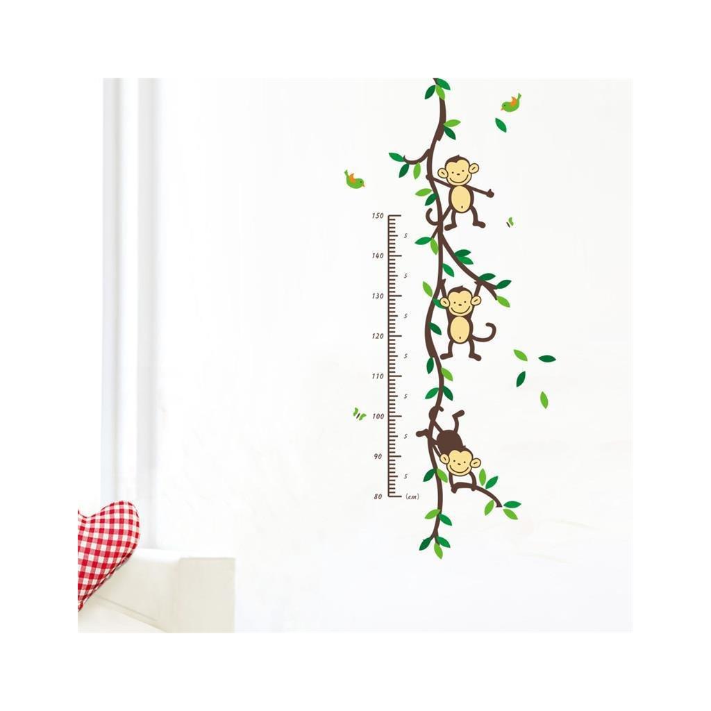 """Autocolant de perete """"Metru pentru copii - Maimuțe"""" 50x110 cm"""