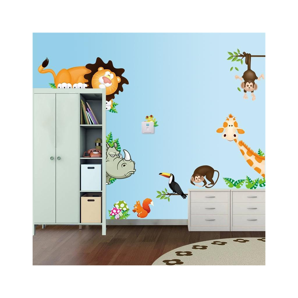 """Autocolant de perete """"Animalele din junglă"""" 30x90 cm"""