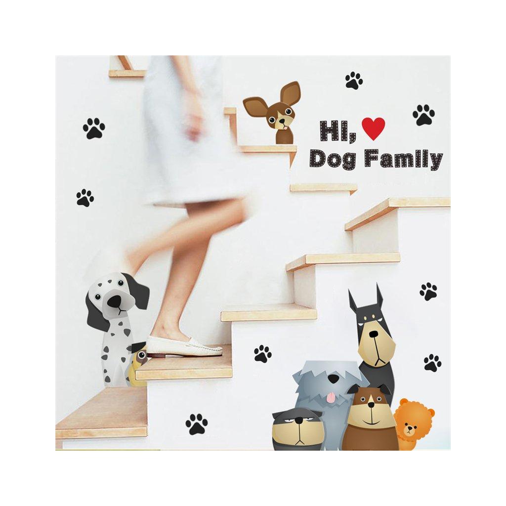 detska samolepka na stenu samolepiaca tapeta dekoracna nalepka pes psi psia rodina vizualizacia stylovydomov