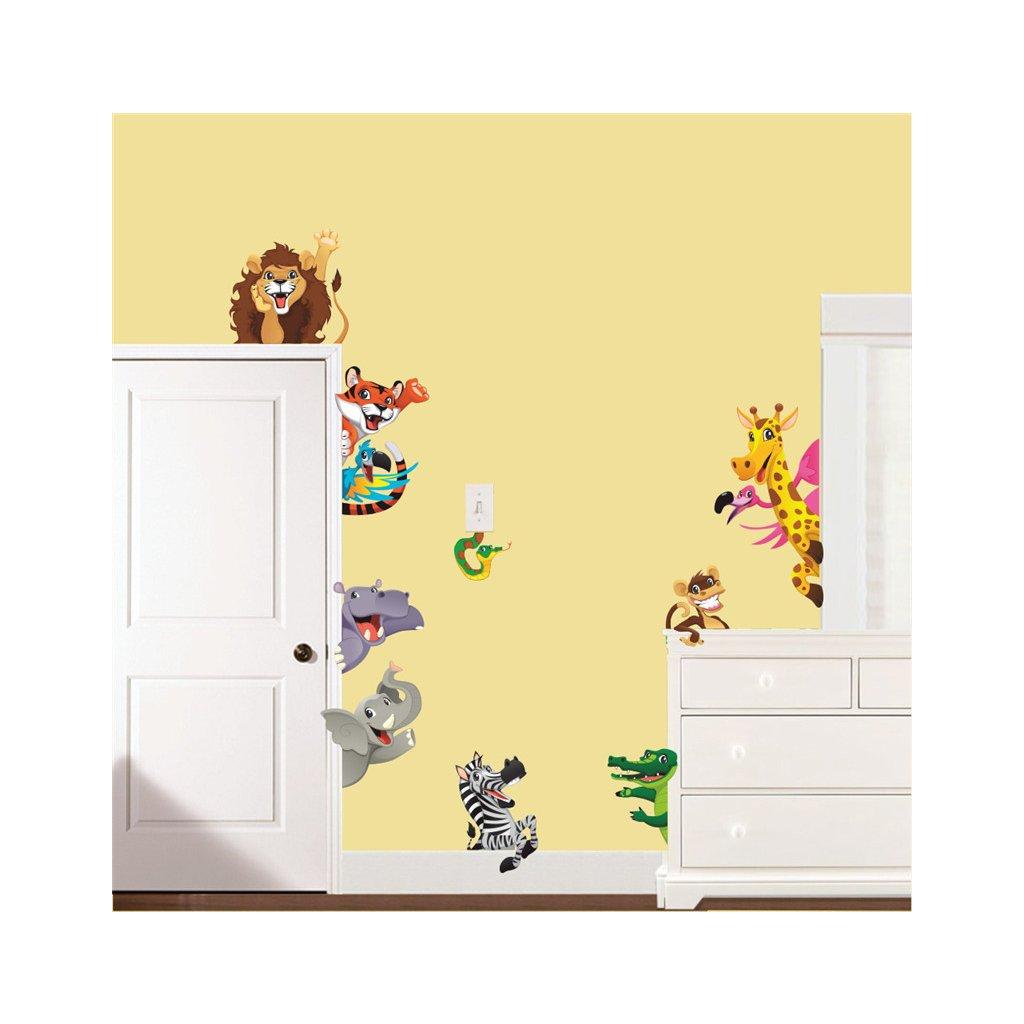 detska samolepka na stenu samolepiaca tapeta dekoracna nalepka zvieratka zo zoo nahlad stylovydomov