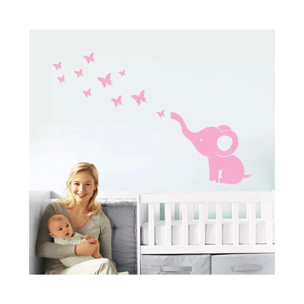 samolepka na stenu pre deti detska nalepka ruzovy slonik s motylmi nahlad stylovydomov